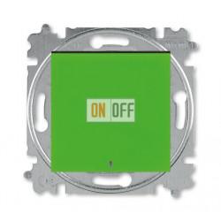 Выключатель 1-клавишный ,проходной с подсветкой (с двух мест), цвет Зеленый/Дымчатый черный, Levit, ABB