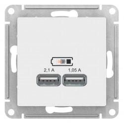 Розетка USB 2-ая 2100 мА (для подзарядки), Белый, серия Atlas Design, Schneider Electric