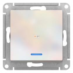 Выключатель 1-клавишный ,проходной с индикацией (с двух мест), Жемчуг, серия Atlas Design, Schneider Electric