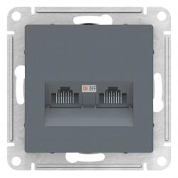 Розетка компьютерная 2-ая кат.5е, RJ-45 (интернет), Грифель, серия Atlas Design, Schneider Electric