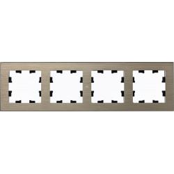 Рамка 4-ая (четверная), Металл Латунь, серия Atlas Design Nature, Schneider Electric