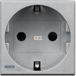 Розетка 1-ая электрическая , с заземлением (винтовой зажим), цвет Алюминий, Axolute, Bticino