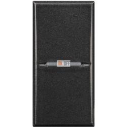 Установочный выключатель 1-клавишный, проходной (с двух мест) 1 мод Axial (винтовые клеммы), цвет Антрацит, Axolute, Bticino