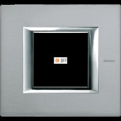 Рамка 1-ая (одинарная) прямоугольная, цвет Темное серебро, Axolute, Bticino