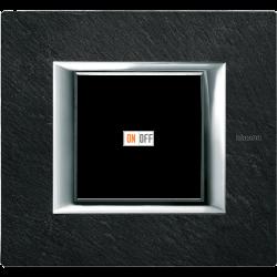 Рамка 1-ая (одинарная) прямоугольная, цвет Черный мрамор Ардезия, Axolute, Bticino