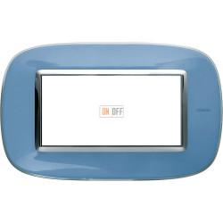Рамка итальянский стандарт 4 мод эллипс, цвет Голубая карамель, Axolute, Bticino