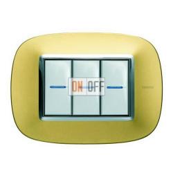 Рамка итальянский стандарт 3 мод эллипс, цвет Золото матовое, Axolute, Bticino