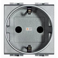 Розетка 1-ая электрическая , с заземлением (винтовой зажим), цвет Алюминий, LivingLight, Bticino