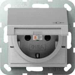 Розетка 1-ая электрическая , с заземлением и крышкой, защитными шторками, цвет Алюминий, Gira