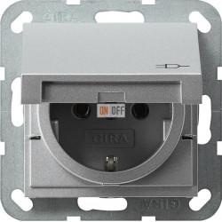Розетка 1-ая электрическая , с заземлением и крышкой , цвет Алюминий, Gira