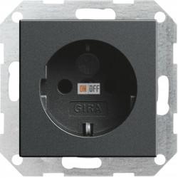 Розетка 1-ая электрическая , с заземлением и защитными шторками (безвинтовой зажим), цвет Антрацит, Gira