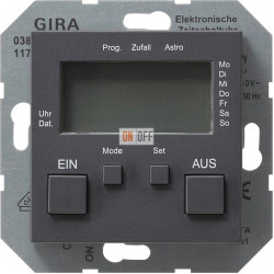 Таймер электронный программируемый, цвет Антрацит, Gira