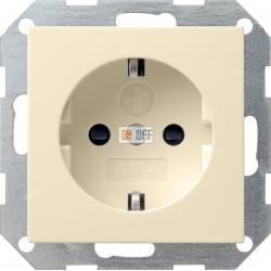 Розетка 1-ая электрическая , с заземлением и защитными шторками (безвинтовой зажим), цвет Бежевый, Gira