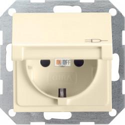 Розетка 1-ая электрическая , с заземлением и крышкой , цвет Бежевый, Gira