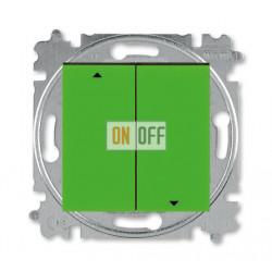 Выключатель для жалюзи (рольставней) с фиксацией, цвет Зеленый/Дымчатый черный, Levit, ABB