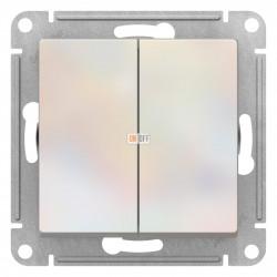 Выключатель 2-клавишный проходной (с двух мест), Жемчуг, серия Atlas Design, Schneider Electric
