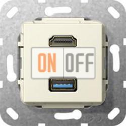 Розетка USB/HDMI, цвет Бежевый, Gira