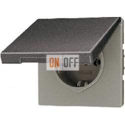 Розетка 1-ая электрическая , с заземлением, крышкой IР44, влагозащищенная, цвет Алюминий (металл), LS990, Jung