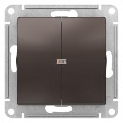 Выключатель 2-клавишный проходной (с двух мест), Мокко, серия Atlas Design, Schneider Electric
