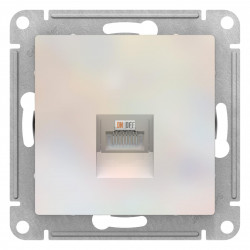 Розетка компьютерная 1-ая кат.5е, RJ-45 (интернет), Жемчуг, серия Atlas Design, Schneider Electric