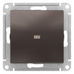 Выключатель 1-клавишный; кнопочный, Мокко, серия Atlas Design, Schneider Electric