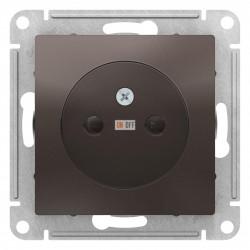 Розетка 1-ая электрическая без заземления с защитными шторками, Мокко, серия Atlas Design, Schneider Electric