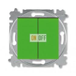 Выключатель 2-клавишный проходной (с двух мест), цвет Зеленый/Дымчатый черный, Levit, ABB
