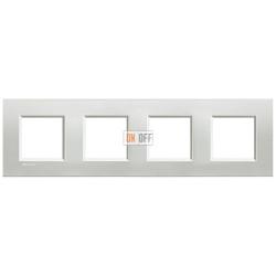 Рамка 4-ая (четверная) прямоугольная, цвет Серебро, LivingLight, Bticino