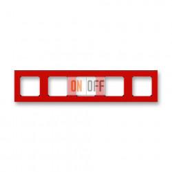 Рамка 5-ая (пятерная), цвет Красный/Дымчатый черный, Levit, ABB