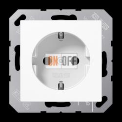 Розетка с/з с защитными шторками (безвинтовой зажим), термопласт,цвет Белый, JUNG A500