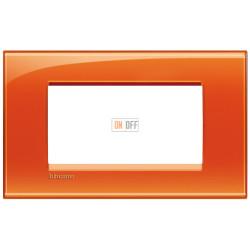 Рамка итальянский стандарт 4 мод прямоугольная, цвет Оранжевый, LivingLight, Bticino