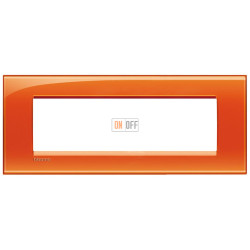 Рамка итальянский стандарт 7 мод прямоугольная, цвет Оранжевый, LivingLight, Bticino