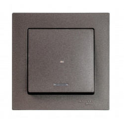 Выключатель 1-клавишный , с подсветкой, Мокко, серия Atlas Design, Schneider Electric