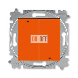 Выключатель для жалюзи (рольставней) кнопочный, цвет Оранжевый/Дымчатый черный, Levit, ABB