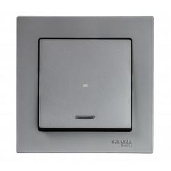 Выключатель 1-клавишный , с подсветкой, Сталь, серия Atlas Design, Schneider Electric
