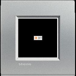 Рамка 1-ая (одинарная) прямоугольная, цвет Алюминий, LivingLight, Bticino
