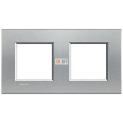 Рамка 2-ая (двойная) прямоугольная, цвет Алюминий, LivingLight, Bticino