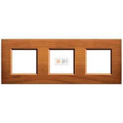 Рамка 3-ая (тройная) прямоугольная, цвет Дерево Вишня (американская), LivingLight, Bticino
