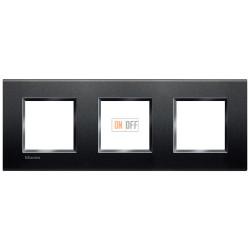 Рамка 3-ая (тройная) прямоугольная, цвет Антрацит, LivingLight, Bticino