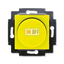 Диммер поворотно-нажимной , 600Вт для ламп накаливания, цвет Желтый/Дымчатый черный, Levit, ABB