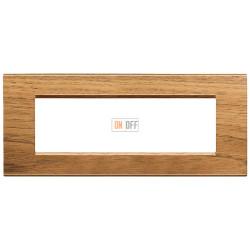 Рамка итальянский стандарт 7 мод прямоугольная, цвет Дерево Орех (европейский), LivingLight, Bticino