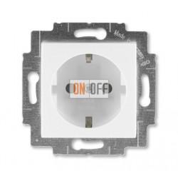 Розетка 1-ая электрическая , с заземлением и защитными шторками (безвинтовой зажим), цвет Белый/Ледяной, Levit, ABB