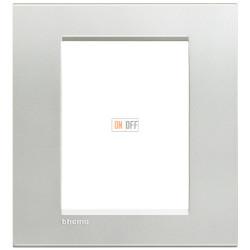 Рамка итальянский стандарт 3+3 мод прямоугольная, цвет Серебро, LivingLight, Bticino