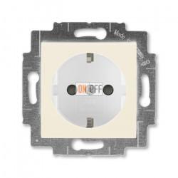 Розетка 1-ая электрическая , с заземлением и защитными шторками (безвинтовой зажим), цвет Слоновая кость/Белый, Levit, ABB