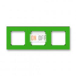 Рамка 3-ая (тройная), цвет Зеленый/Дымчатый черный, Levit, ABB