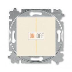Выключатель 2-клавишный проходной (с двух мест), цвет Слоновая кость/Белый, Levit, ABB