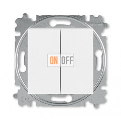 Выключатель 2-клавишный проходной (с двух мест), цвет Белый/Ледяной, Levit, ABB