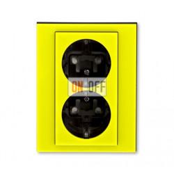 Розетка 2-ая электрическая с заземлением с защитными шторками, цвет Желтый/Дымчатый черный, Levit, ABB