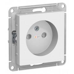 Розетка 1-ая электрическая без заземления с защитными шторками, Белый, серия Atlas Design, Schneider Electric