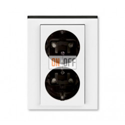 Розетка 2-ая электрическая с заземлением с защитными шторками, цвет Белый/Дымчатый черный, Levit, ABB